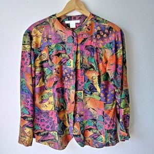 Vintage limited purple multi print button blouse